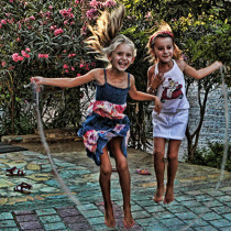 Girls playing with skipping rope